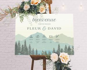 Vintage Mountain - Panneau de bienvenue mariage