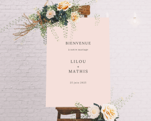 Natural Palette - Panneau de bienvenue mariage (vertical)