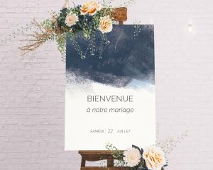 Modern Brushstroke - Panneau de bienvenue mariage (vertical)