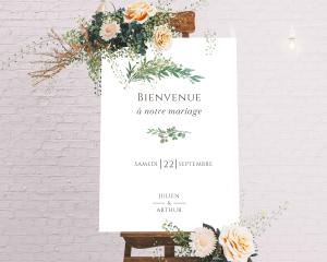 Leafy Hoops - Panneau de bienvenue mariage (vertical)